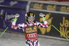 Anna Fenninger of Austria celebrates after winning the women's giant slalom event at the Alpine Skiing World Cup in Are March 13, 2015. REUTERS/Pontus Lundahl/TT News Agency