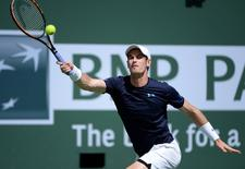 Mar 16, 2015; Indian Wells, CA, USA; Andy Murray (GBR) during his match against Philipp Kohlschreiber at the BNP Paribas Open at the Indian Wells Tennis Garden. Mandatory Credit: Jayne Kamin-Oncea-USA TODAY Sports