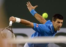 Novak Djokovic (SER) during his match against John Isner (USA) in the BNP Paribas open at the Indian Wells Tennis Garden. Djokovic won 6-4, 7-6. Mandatory Credit: Jayne Kamin-Oncea-USA TODAY Sports