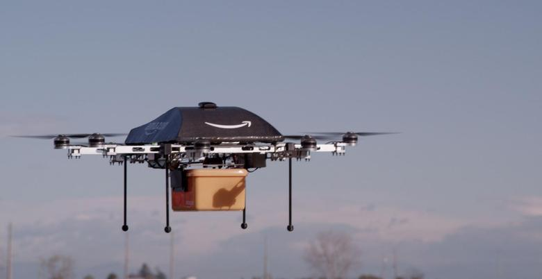 An Amazon delivery drone is seen in this undated handout photo.  REUTERS/Amazon