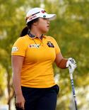 Mar 20, 2015; PHOENIX, AZ, USA; Ha Na Jang watches her drive on the 1st hole during round two action of the JTBC Founders Cup at Wildfire Golf Club at JW Marriott Phoenix Desert Ridge Resort & Spa. Mandatory Credit: Rob Schumacher-USA TODAY Sports