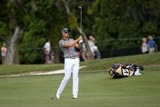 Mar 20, 2015; Orlando, FL, USA; Henrik Stenson hits from the 9th fairway during the second round of the Arnold Palmer Invitational presented by MasterCard at Bay Hill Club & Lodge. Kevin Liles-USA TODAY Sports