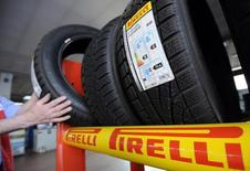 Pirelli tyres are pictured at a tyre specialist center in Turin, March 18, 2014.  REUTERS/Giorgio Perottino