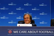 UEFA President Michel Platini attends a press conference after the announcement of the 13 cities which will host matches at the Euro 2020 tournament to be played across the continent, during a ceremony in Geneva September 19, 2014. REUTERS/Denis Balibouse