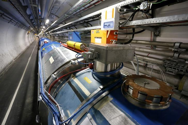 A general view of the Large Hadron Collider (LHC) experiment is seen during a media visit to the Organization for Nuclear Research (CERN) in the French village of Saint-Genis-Pouilly, near Geneva in Switzerland, July 23, 2014. REUTERS/Pierre Albouy