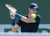 Andy Murray (GBR) during his quarter final match against Feliciano Lopez (ESP) in the BNP Paribas open at the Indian Wells Tennis Garden. Murray won 6-3, 6-4. Mandatory Credit: Jayne Kamin-Oncea-USA TODAY Sports