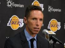 Los Angeles Lakers guard Steve Nash addresses the media at the press conference to announce his retirement at the Toyota Sports Center. Mandatory Credit: Kirby Lee-USA TODAY Sports