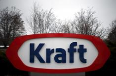 The Kraft logo is pictured outside its headquarters in Northfield, Illinois, March 25, 2015. REUTERS/Jim Young