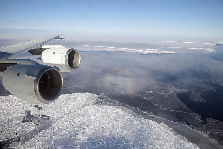 NASA's DC-8 flies over the Brunt Ice Shelf in Antarctica October 26, 2010 in this handout photo provided by NASA, March 26, 2015.