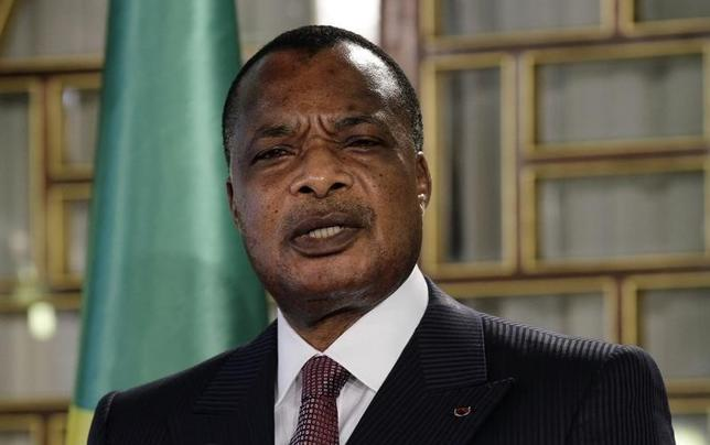 Congo's President Denis Sassou Nguesso speaks during a news conference after his meeting with Tunisia's President Beji Caid Essebsi at Carthage Palace in Tunis January 22, 2015.    REUTERS/Anis Mili