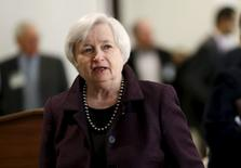 U.S. Federal Reserve Chair Janet Yellen arrives for a luncheon at the Federal Reserve in San Francisco, California March 27, 2015. REUTERS/Robert Galbraith