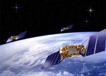 Représentation de la constellation de satellites du système Galileo. Le lanceur russe Soyouz a mis en orbite vendredi les satellites 7 et 8 du programme Galileo, relançant le projet européen de système de géolocalisation sept mois après l'échec retentissant d'une mission semblable. /Image d'archives/REUTERS
