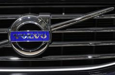 A Volvo logo is seen on a car at the Brussels International Auto Show January 22, 2015.  REUTERS/Yves Herman