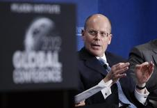 "UnitedHealth Chief Executive Officer Stephen Hemsley takes part in a panel discussion titled ""Getting From Care to Cure"" at the Milken Institute Global Conference in Beverly Hills, California May 1, 2012. REUTERS/Danny Moloshok"