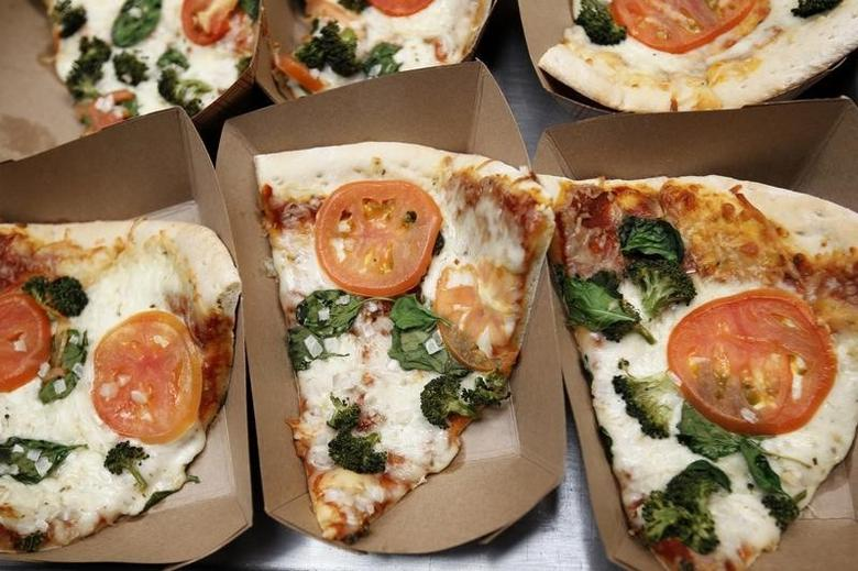 Pizza is shown for sale in the cafeteria at a middle school in San Diego, California March 7, 2011.  REUTERS/ Mike Blake