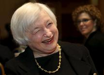 Federal Reserve Chair Janet Yellen smiles at the Federal Reserve's ninth biennial Community Development Research Conference focusing on economic mobility in Washington April 2, 2015. REUTERS/Yuri Gripas