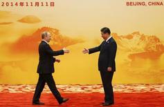 Президент России Владимир Путин и председатель КНР Си Цзиньпин в Пекине 11 ноября 2014 года. REUTERS/Kim Kyung-Hoon