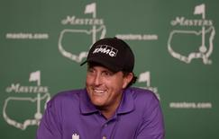 Apr 7, 2015; Augusta, GA, USA;  Three-time Masters champion Phil Mickelson speaks with the media during a press conference on a practice round day for The Masters golf tournament at Augusta National Golf Club. Michael Madrid-USA TODAY Sports