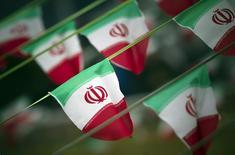 Флаги Ирана в Тегеране. 10 февраля 2012 года. Евросоюз в среду повторно ввел санкции против иранского банка и 32 иранских транспортных компаний, используя новые юридические основания, после того, как эти меры были отменены европейским судом. REUTERS/Morteza Nikoubazl