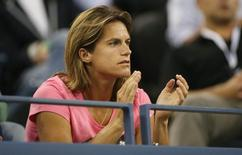 Amelie Mauresmo the coach of Andy Murray (GBR) in attendance at the match against Novak Djokovic (SRB) on day ten of the 2014 U.S. Open tennis tournament at USTA Billie Jean King National Tennis Center. Mandatory Credit: Jerry Lai-USA TODAY Sports