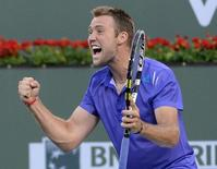 File photo of Jack Sock (USA) reacting to match point during his doubles final with partner Vasek Pospisil (CAN) against Simone Bolelli (ITA) and Fabio Fognini (ITA) in the BNP Paribas Open at the Indian Wells Tennis Garden. Mandatory Credit: Jayne Kamin-Oncea-USA TODAY Sports