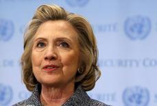 Hillary Clinton, que anunciou sua candidatura à Presidência dos EUA, durante evento em Nova York.   10/04/2015   REUTERS/Mike Segar/Files