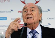 Presidente da Fifa, Joseph Blatter, durante entrevista coletiva em Luzern, na Suíça. 27/03/2015 REUTERS/Arnd Wiegmann