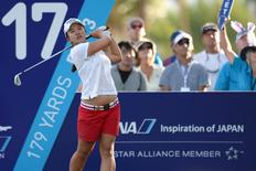Apr 5, 2015; Rancho Mirage, CA, USA; Sei Young Kim tees off on the 17th during the final round of the ANA Inspiration at Mission Hills CC - Dinah Shore Tournament Course. Mandatory Credit: Jake Roth-USA TODAY Sports