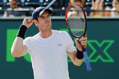 Mar 31, 2015; Key Biscayne, FL, USA; Andy Murray celebrates after his match against Kevin Anderson (not pictured) on day nine of the Miami Open at Crandon Park Tennis Center.  Mandatory Credit: Geoff Burke-USA TODAY