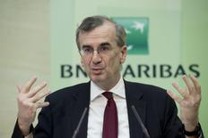 BNP Paribas Chief Operating Officer Francois Villeroy de Galhau speaks during a news conference to present the bank's 2014 annual results in Paris, February 5, 2015.   REUTERS/Gonzalo Fuentes
