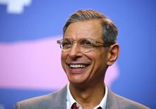 "Actor Jeff Goldblum smiles during a press conference to promote the movie ""The Grand Budapest Hotel"" at the 64th Berlinale International Film Festival in Berlin February 6, 2014. REUTERS/Thomas Peter"