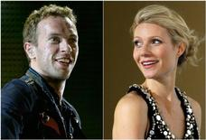 "Combo picture of singer Chris Martin of Coldplay performing during a concert as part of their ""Viva La Vida"" tour in Barcelona September 4, 2009 and actress Gwyneth Paltrow posing during the premiere of her film ""Iron Man"" in Berlin April 22, 2008.  REUTERS/Gustau Nacarino/Johannes Eisele"