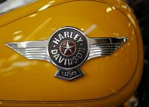 A Harley-Davidson motorcycle fuel tank is seen at Harley-Davidson of Frederick in Frederick Maryland, in this file photo taken October 23, 2012. REUTERS/Gary Cameron/Files