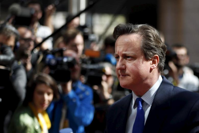 Britain's Prime Minister David Cameron arrives at an European Union leaders summit in Brussels April 23, 2015. European Union leaders who decided last year to halt the rescue of migrants trying to cross the Mediterranean will reverse their decision on Thursday at a summit hastily convened after nearly 2,000 people died at sea.   REUTERS/Francois Lenoir