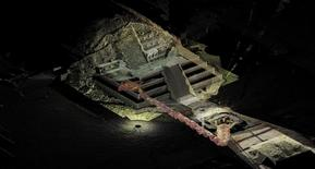 An undated graphic shows the tunnel that may lead to a royal tombs discovered underneath the Quetzalcoatl temple in the ancient city of Teotihuacan in this October 29, 2014. REUTER/INAH/Files/Handout via Reuters.