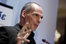 Greek Finance Minister Yanis Varoufakis delivers a speech during a banking conference in Athens April 21, 2015. REUTERS/Alkis Konstantinidis
