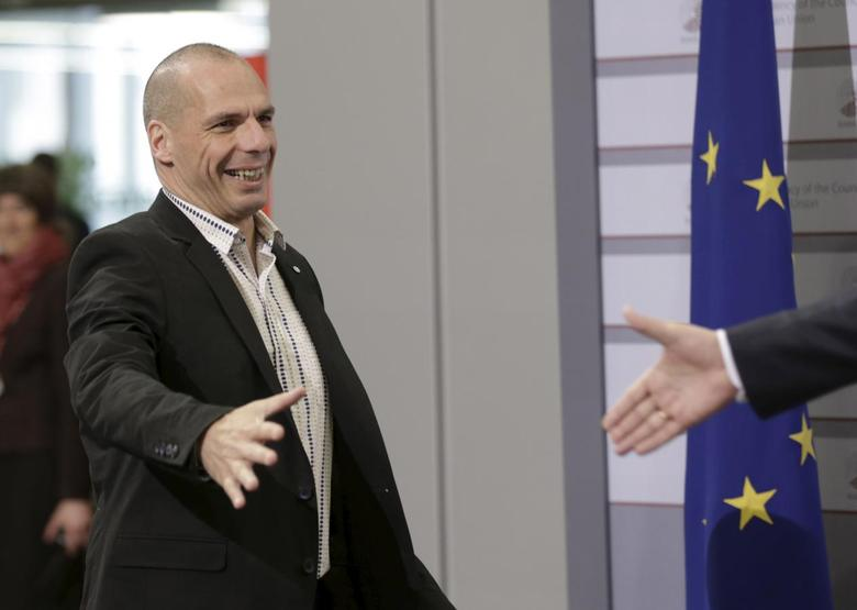 Minister of Finance of Greece Yanis Varoufakis arrives to the informal meeting of Ministers for Economic and Financial Affairs (ECOFIN) in Riga, Latvia, April 25, 2015. REUTERS/Ints Kalnins