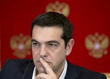 Greek Prime Minister Alexis Tsipras attends a news conference with Russian President Vladimir Putin at the Kremlin in Moscow April 8, 2015.  REUTERS/Alexander Zemlianichenko/Pool