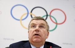 International Olympic Committee (IOC) President Thomas Bach speaks during a news conference at the end of the IOC Executive Board meeting in Rio de Janeiro, February 28, 2015. REUTERS/Pilar Olivares/Files