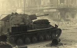 A Russian armoured vehicle is pictured at the junction between Ritter Street and Alexandrinen Street in this undated photo taken May 1945 in Berlin.  REUTERS/MHM/Georgiy Samsonov/Handout via Reuters