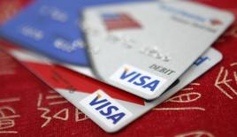Visa credit cards are displayed in Washington October 27, 2009.   REUTERS/Jason Reed