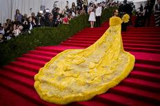 """Singer Rihanna arrives at the Metropolitan Museum of Art Costume Institute Gala 2015 celebrating the opening of """"China: Through the Looking Glass"""" in Manhattan, New York May 4, 2015.  REUTERS/Lucas Jackson"""