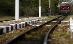 A train arrives at Varvara railway station, Bulgaria April 28, 2015. REUTERS/Stoyan Nenov