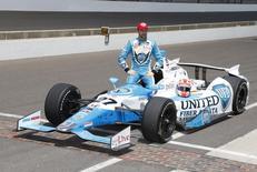 James Hinchcliffe at Indianapolis Motor Speedway. May 17, 2014; Indianapolis, IN, USA;  Brian Spurlock-USA TODAY Sports