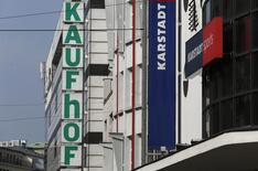 A warehouse of the German department store chain Karstadt is seen beside a Kaufhof warehouse in Duesseldorf September 8, 2014. REUTERS/ Ina Fassbender