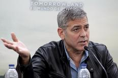 "Cast member George Clooney talks to the media during a news conference at the City of Arts and Sciences ahead of the premiere of the movie ""Tomorrowland"" in Valencia, Spain, May 19, 2015. REUTERS/Heino Kalis"