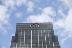 A Citigroup office is seen at Canary Wharf  in London, Britain May 19, 2015.  Five of the world's largest banks, including JPMorgan Chase & Co and Citigroup Inc, were fined roughly $5.7 billion, and four of them pleaded guilty to U.S. criminal charges over manipulation of foreign exchange rates, authorities said on Wednesday. REUTERS/Suzanne Plunkett