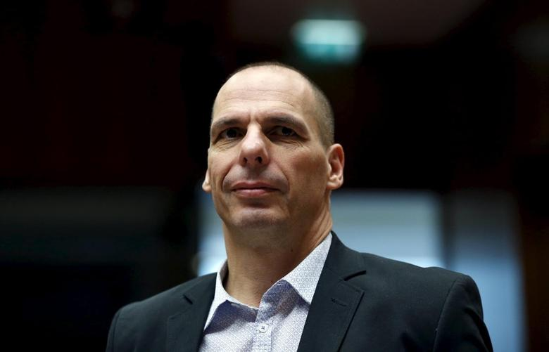 Greece's Finance Minister Yanis Varoufakis attends an European Union finance ministers meeting in Brussels, Belgium, May 12, 2015.   REUTERS/Francois Lenoir