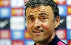 Técnico do Barcelona, Luis Enrique, durante entrevista coletiva no centro de treinamento do clube em Sant Joan Despi, perto de Barcelona. 22/05/2015 REUTERS/Gustau Nacarino
