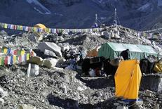 Sherpas load mountaineering equipments used for climbing on yaks after Mount Everest expeditions were cancelled in Solukhumbu district April 27, 2014.  REUTERS/Phurba Tenjing Sherpa/Files